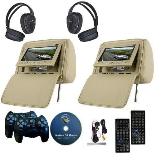 2x 7 inch car headrest dvd player radio tv monitor headphones game handles i need