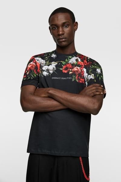 ZARA - Male - Floral printed t-shirt - Black