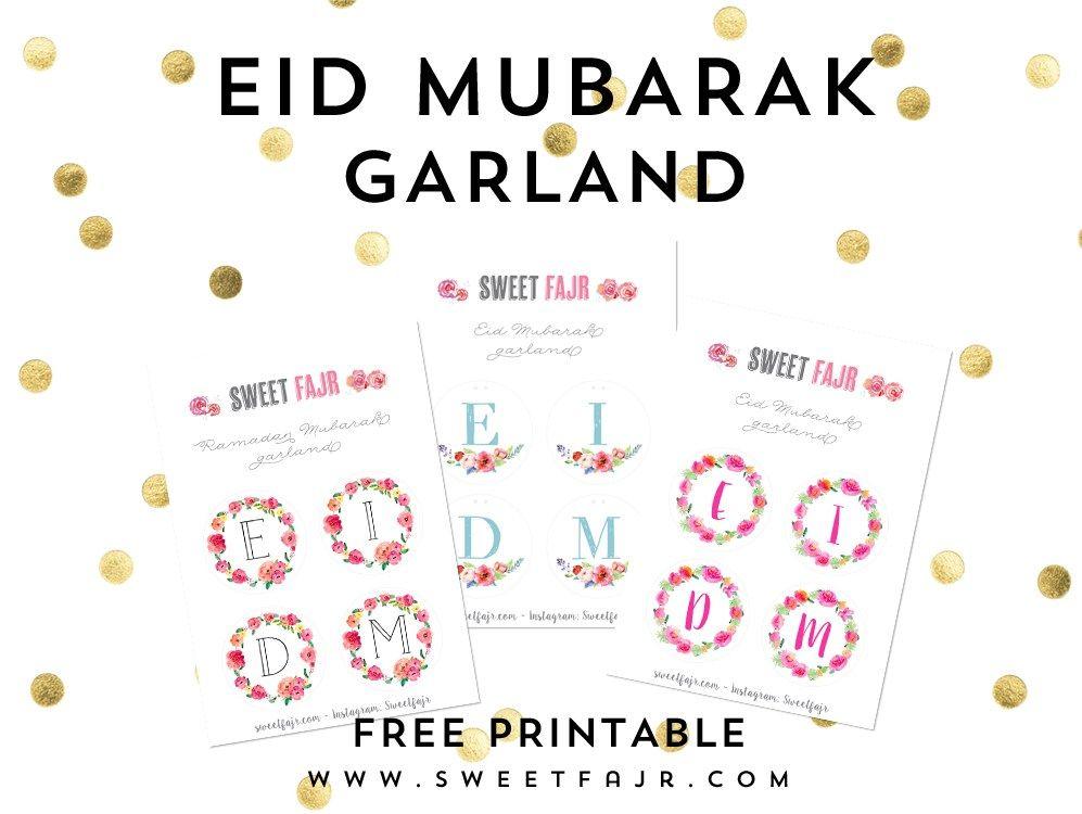 eid mubarak garland  free printable