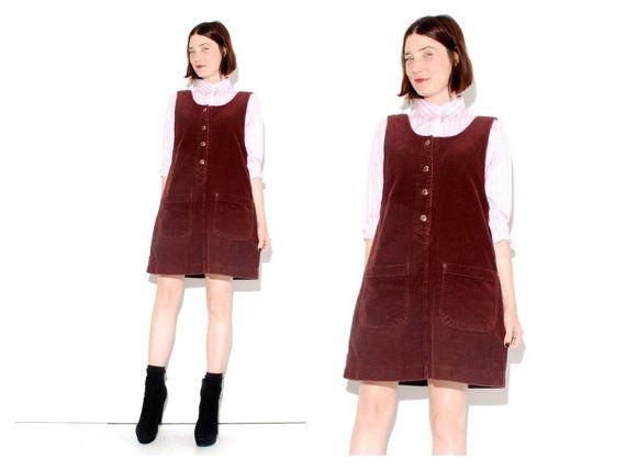 25b8374201c 90s Corduroy JUMPER DRESS size MEDIUM plum berry jumper dress ...