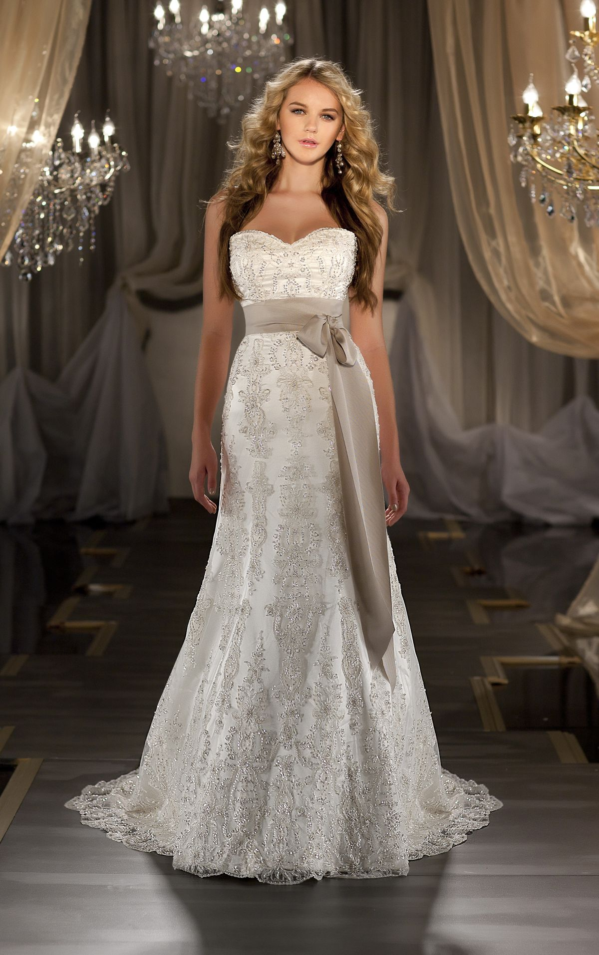 Flowy lace wedding dresses sweetheart neckline matching ribbon with