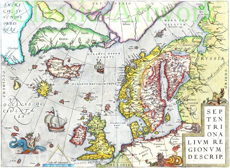 Europa Av Ortelius Tidig Karta 1500 Talet Map Karta Bilder