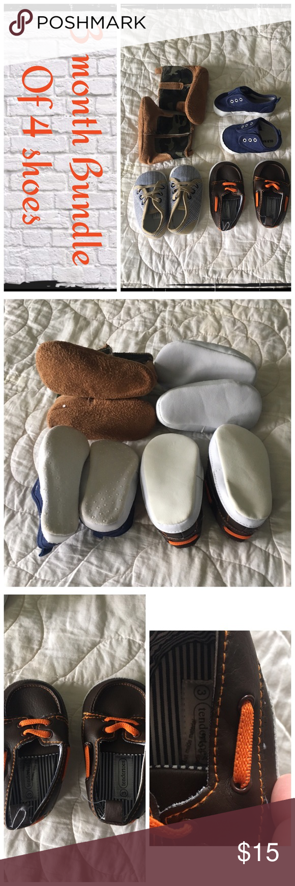 Boys size 3 shoe bundle of 4 pair Gently worn, normal wash wear. EUC.                                  ❇️ There could be some small stains/blemishes I missed, but I try to note everything.😘.                          ❇️ Reasonable Offers Only Please ❇️ Smoke and pet free ❇️ If this is a bundle, I WILL NOT break it up and sell    separately ❇️ I do not model anything; I will provide measurements if needed.  ❇️ Please do not hesitate to ask questions, 👍.         ❇️ NO HOLDS, NO TRADES, POSH…
