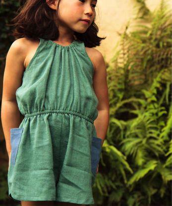 boy+girl Market Romper, Green - shopminikin