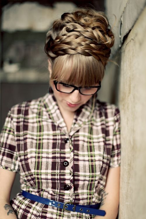 Braided updo with loose curls sleek blunt bangs - Find more cute braided updos on http://hairstylesweekly.com