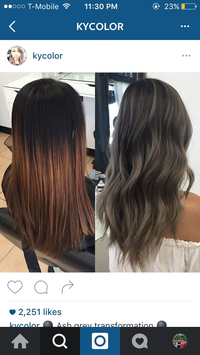 Charcoal And Ash Tones On Dark Hair Balayge Silver Charcoal