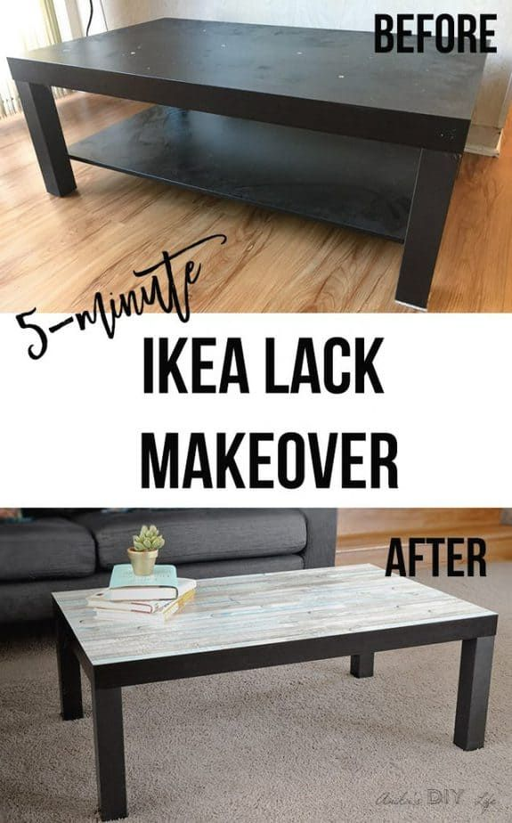 Ikea Lack Coffee Table Makeover  The Easiest kind is part of Ikea Living Room Table - This Ikea Lack coffee table makeover is the easiest you will ever see! The plain table top is transformed with this simple hack that takes about 5minutes!