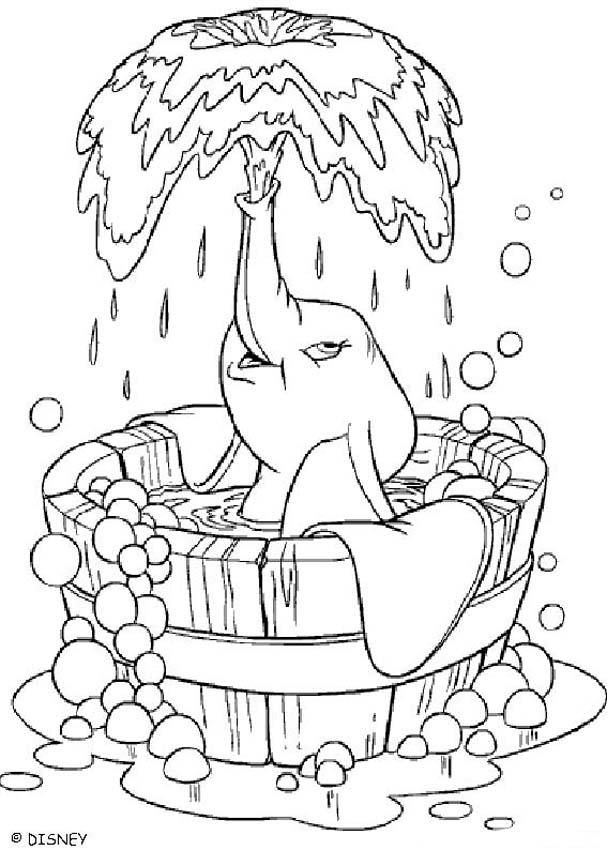 Dumbo Coloring Pages Dumbo S Bath Elephant Coloring Page