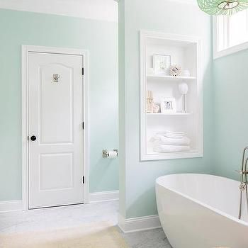 Mint Green And White Bathroom Seafoam Paint