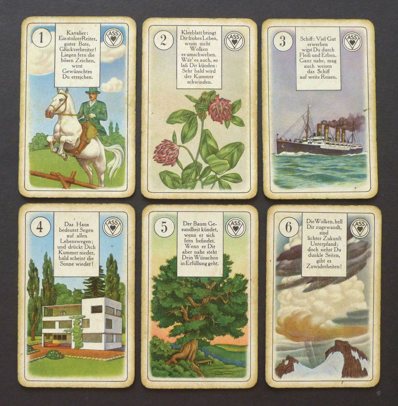Antique Ass Lenormand Fortune Telling Cards Oracle Deck Nazi Germany Era Vintage | eBay
