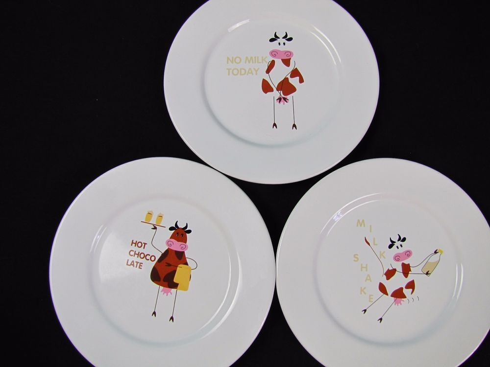 3 NO MILK White Dinner Plates ASA Selection Design Made Germany Cows Whimsical & 3 NO MILK White Dinner Plates ASA Selection Design Made Germany Cows ...
