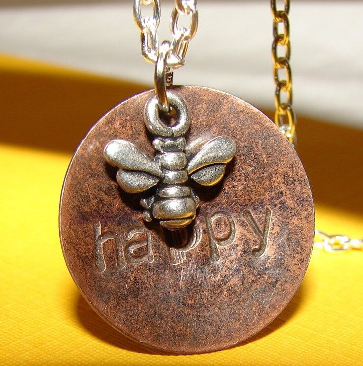 Bee Happy Necklace by TheJewelryChicks on Etsy