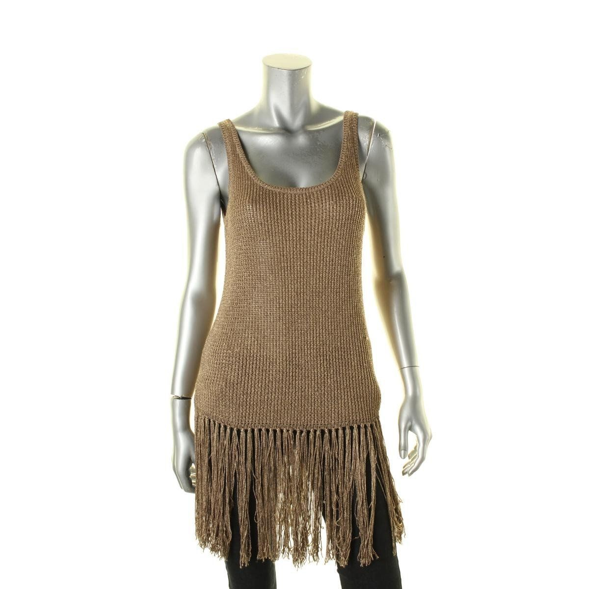 Polo Ralph Lauren Womens Metallic Fringe Tank Top Sweater