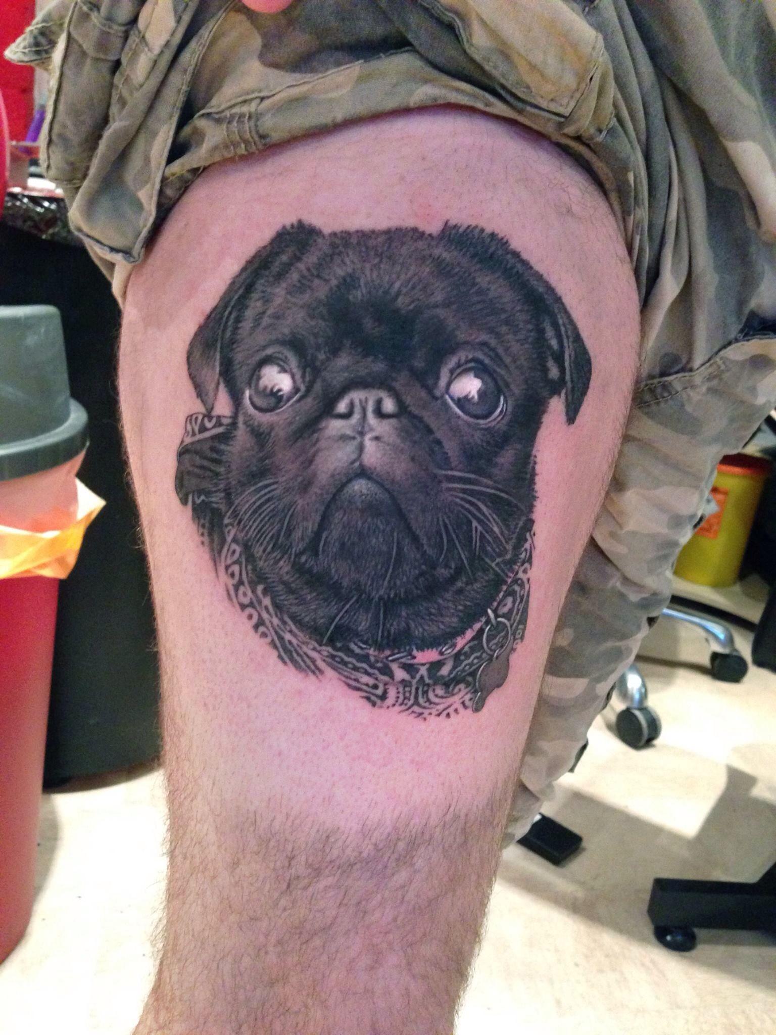Amazing Pug Tat By Tattoo Artist David Corden Pug Tattoo Dog