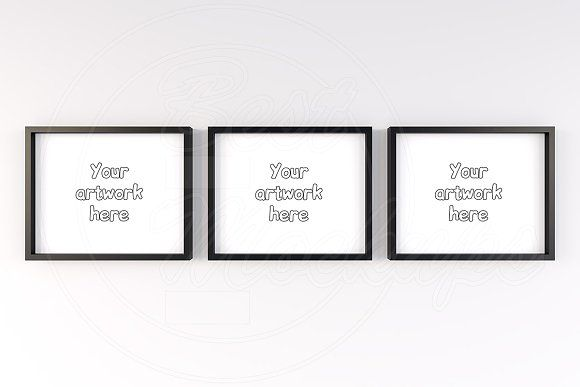 3 color wood frames mockup 10x8 inch by BestMockups on ...