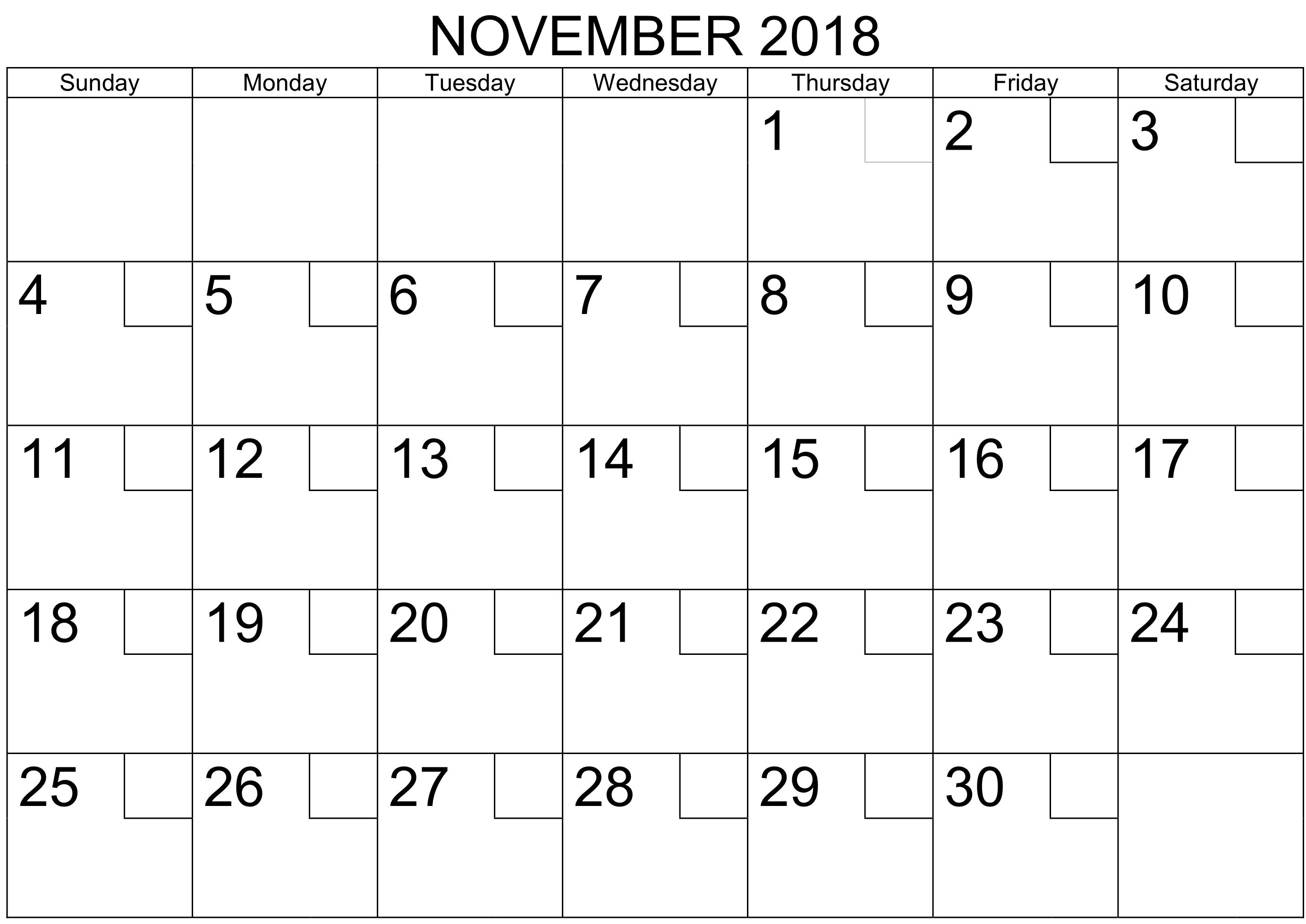 November Calendar Printable Worksheet
