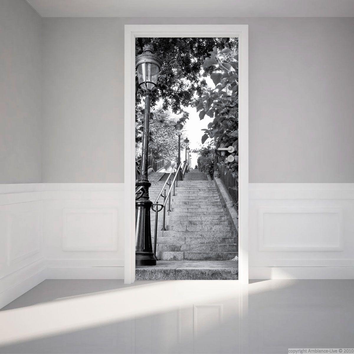 Interesting sticker porte x cm escalier parisien u - Film miroir pour porte de placard ...
