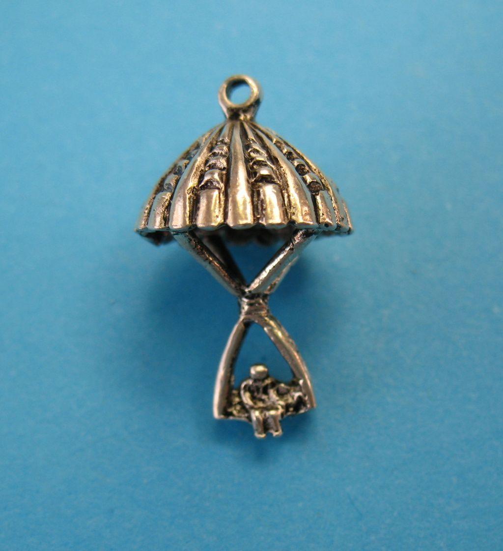 Parrot on Ladder Sterling Silver Vintage Charm For Bracelet