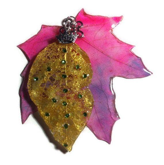 Dual skeletonized leaves with Swarovski crystals by WishYouLove