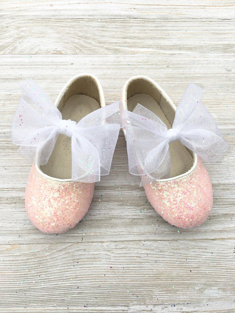 d14357b0632 LIGHT PINK Rock Glitter INFANT Girl Shoes   WALKER Girl Shoes Maryjane Flats  With Sash Bow