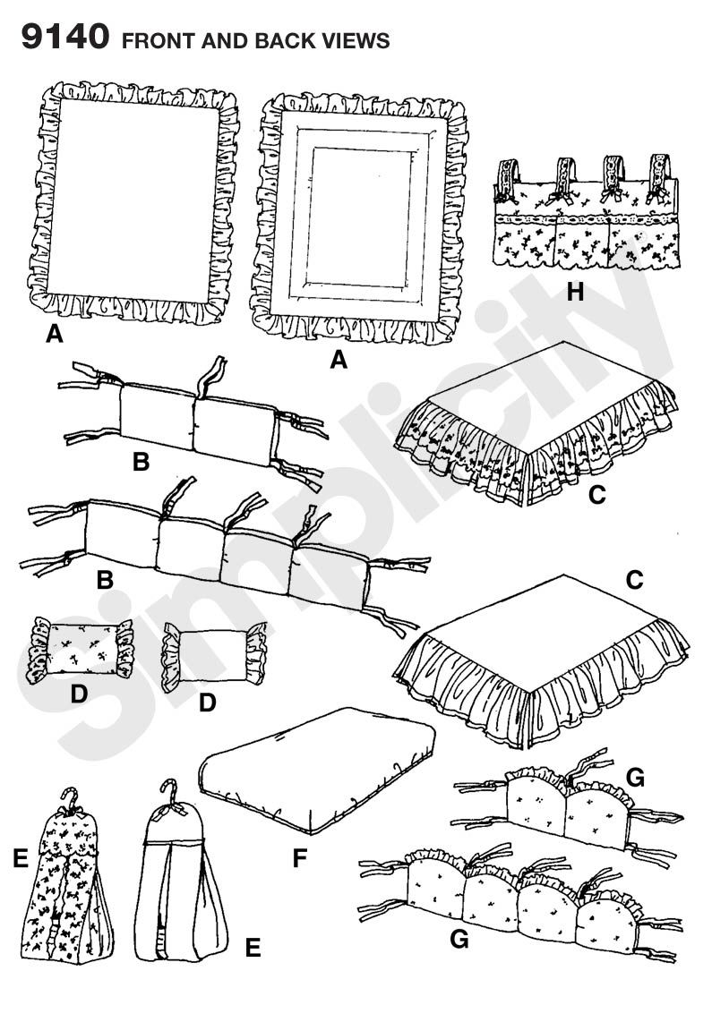 Fitted Sheet Dust Ruffle For Crib Sewing Pattern 9140 Simplicity