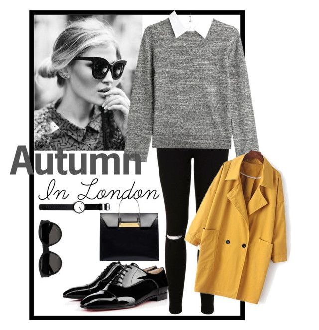 """Autumn in London"" by izzy-dawson on Polyvore featuring Miss Selfridge, Christian Louboutin, Steffen Schraut, Balenciaga, Yves Saint Laurent and Rosendahl"