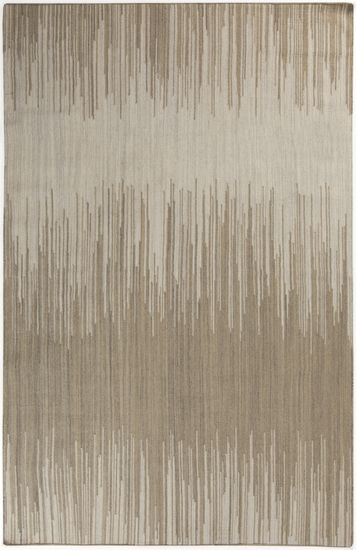 This flat weave wool rug has a soothing strie pattern in relaxing shades of olive, taupe, and gray. Part of the Frontier Collection by Surya.  (FT-512)
