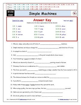 Differentiated Video Worksheet, Quiz & Ans. for Bill Nye - Simple ...