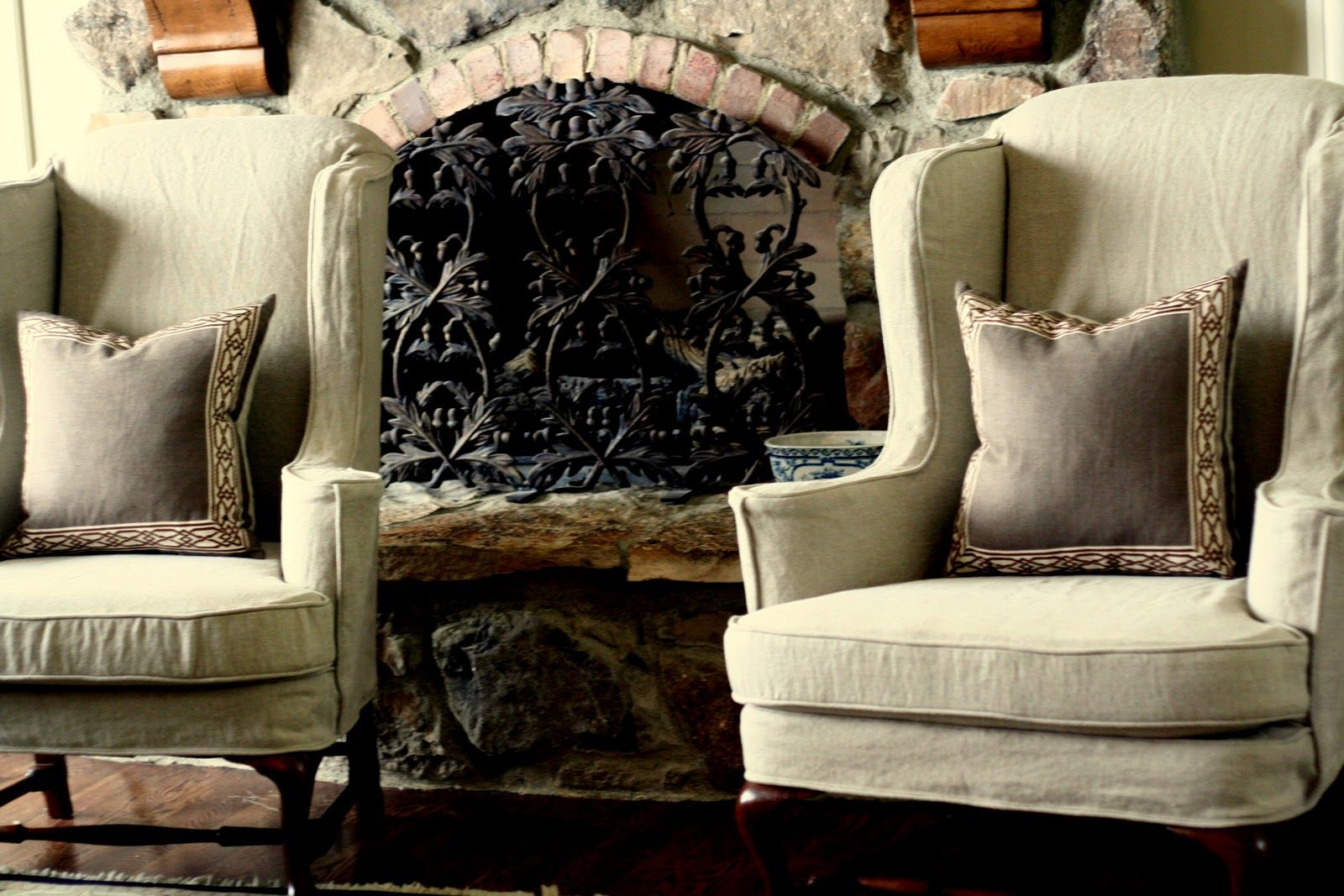 Slipcovers For Wingback Chairs With Square/box Cushion   Google Search