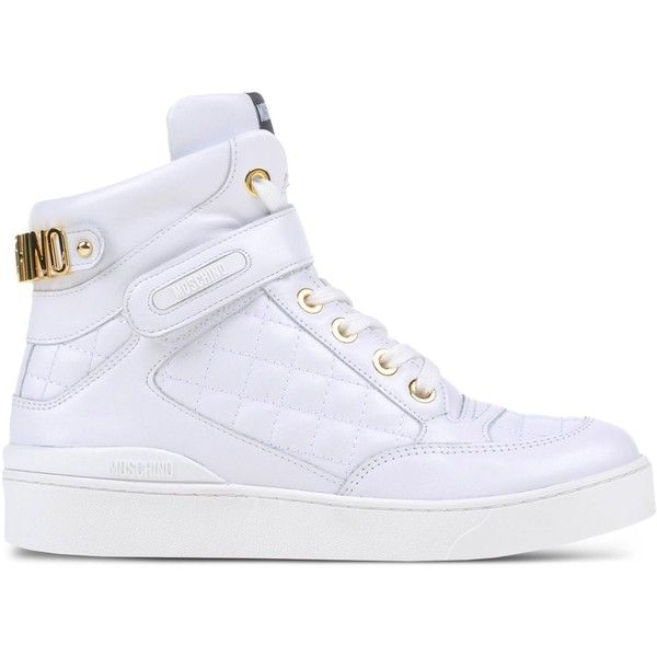 Moschino High-Tops & Trainers (¥58,895) ❤ liked on Polyvore featuring shoes, sneakers, white, high top shoes, white high top sneakers, white hi top sneakers, quilted shoes and high top trainers