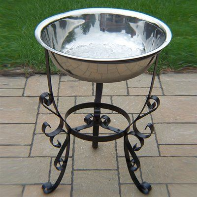 Oakland Living 20 In Stainless Steel Outdoor Ice Bucket With Stand   The  Mine