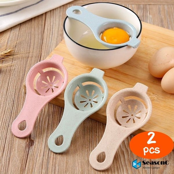 2pcs Kitchen Material Plastic Steel Egg Yolk White Separator Used To Make Cake (Color: Random)#SeasonC# | Wish