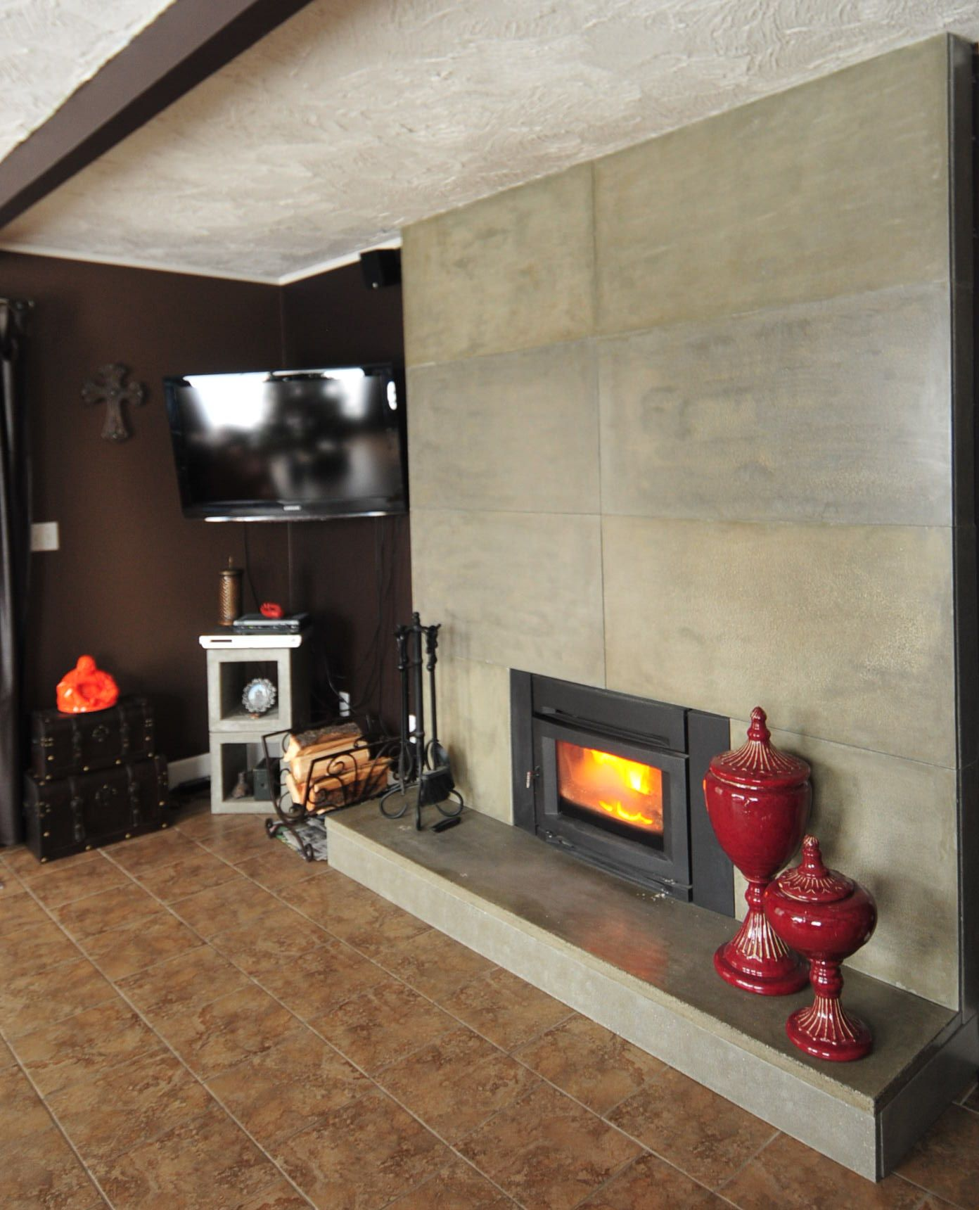 Easily Update And Modernize Your Fireplacerefacing An Existing Pleasing Cement Showcase Designs Living Room Design Inspiration