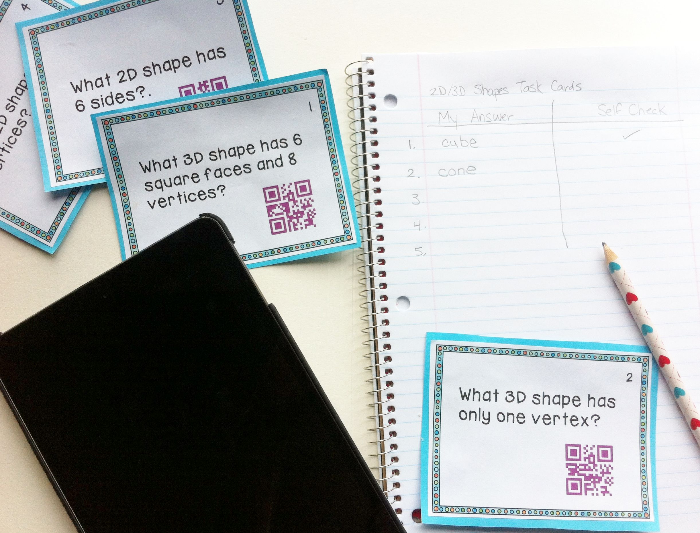 Free Twenty 2d Amp 3d Shapes Task Cards With Qr Codes