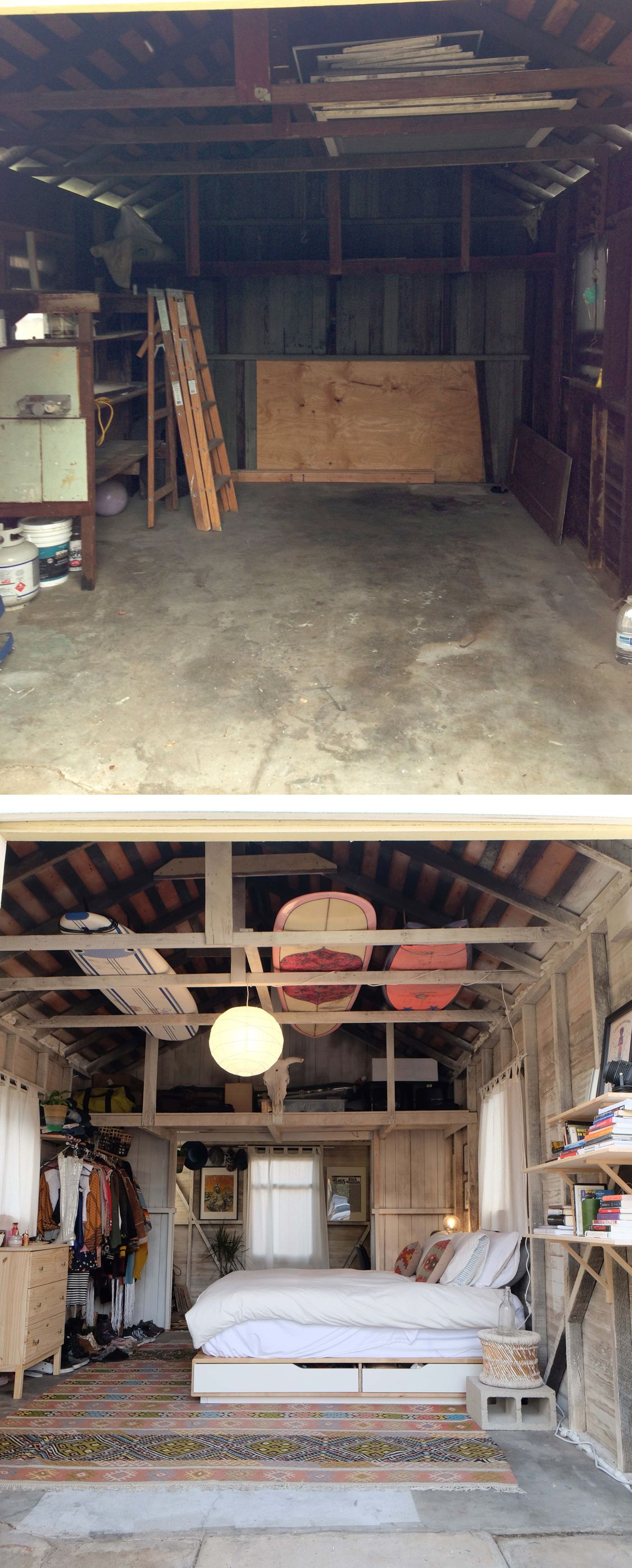 See a dingy garage transform into the coolest bedroom ever for Garage transformation