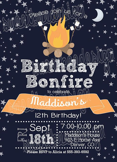 bonfire birthday invitation campfire birthday invitation campout