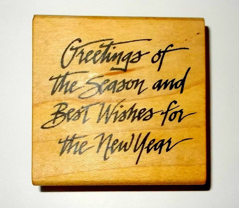 Comotion Seasons Greetings Rubber Stamp Wood Mounted Vintage Words