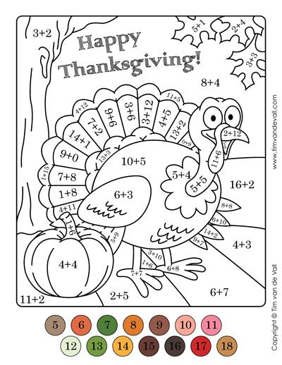 Turkey Color By Numbers Addition Thanksgiving Math Worksheets