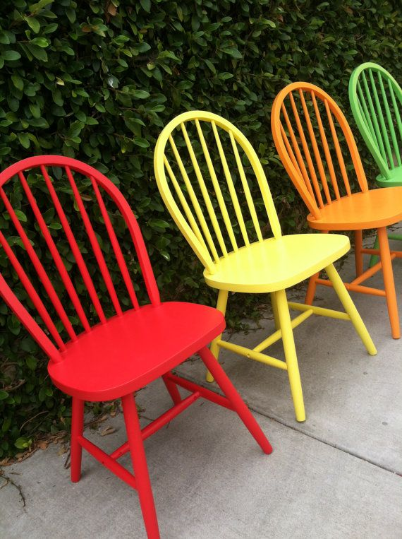 Painted Wooden Chairs set of 4 vintage spindle chairs painted woodthepaintedldy