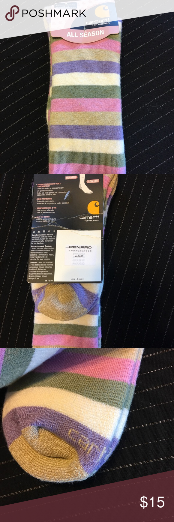 Carhartt Women's Stripped Socks Carhartt women's stripped socks brand new! Size medium 5 1/2 - 11 1/2. Thick socks great for winter. Carhartt Other #carharttwomen