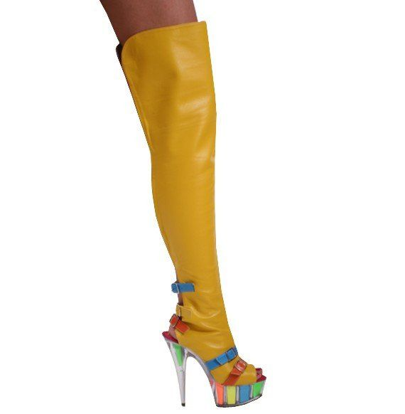 Kitty Paws Shoes Women's Custom Yellow Multi-Colored Thigh High ...