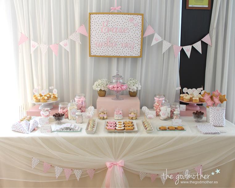 Mesa dulce en tonos rosa dorado y blanco cumplea os - Decoracion de cumpleanos rosa y dorado ...