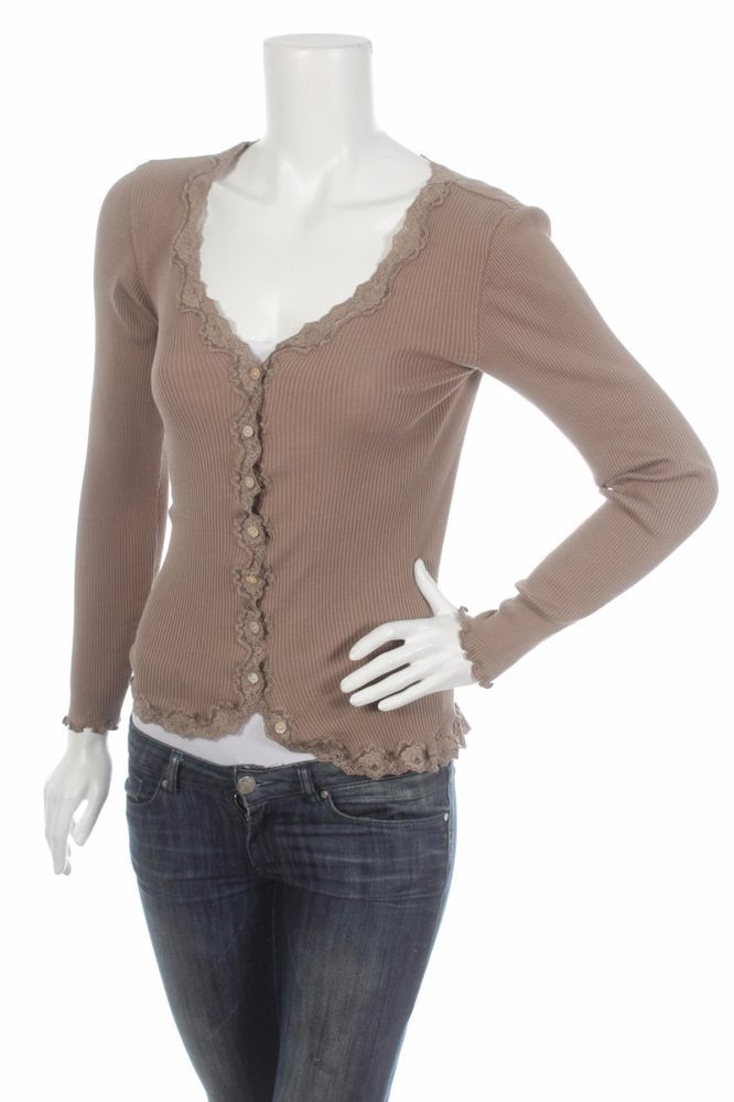 ROSEMUNDE COPENHAGEN WOMEN'S BEIGE BROWN CARDIGAN TOP LACE Size M ...