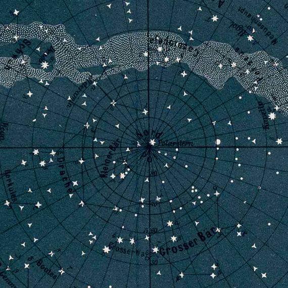 1894 The Milky Way Star Map Original Antique Celestial Print Home