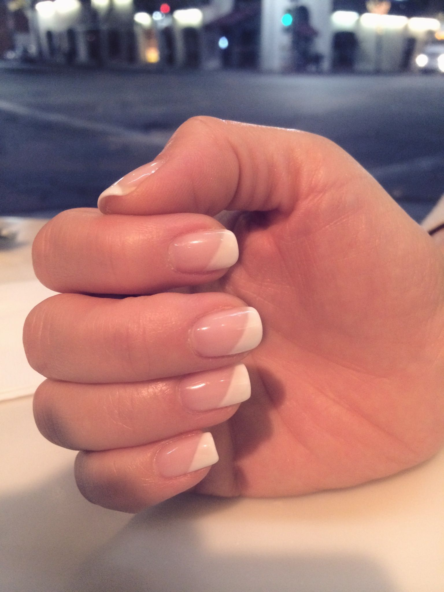 diagonal gel french manicure