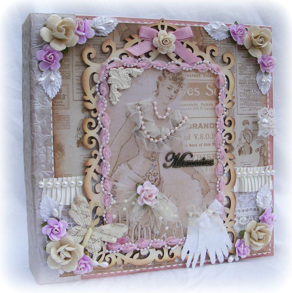 ELITE4U Toni PREMADE SCRAPBOOK PAGE ALBUM VINTAGE VICTORIAN STYLE PRIMA FLOWERS
