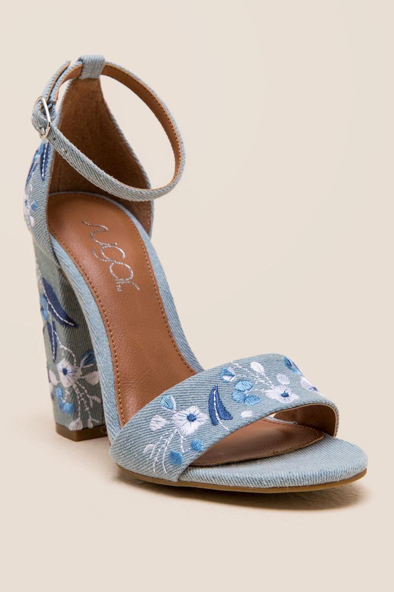 Slick Embroidered Denim Block Heel Heels Shoes
