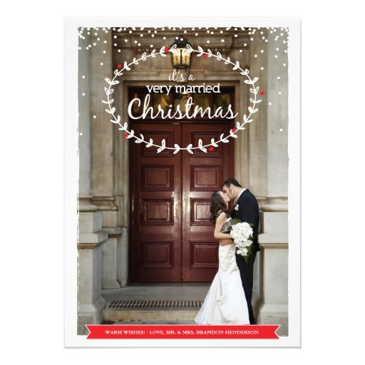 Just Married Wedding Christmas Photo Flat Card Announcement By Origami Prints Anouncements Holiday Marriage