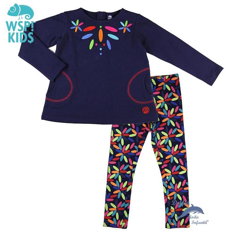 Conjunto de niña WSPKIDS de sudadera bordada y leggings estampados