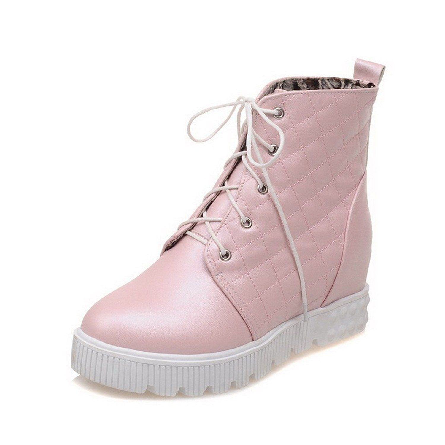Women's Low-Top Lace-Up Soft Material Kitten-Heels Round Closed Toe Boots With Knot